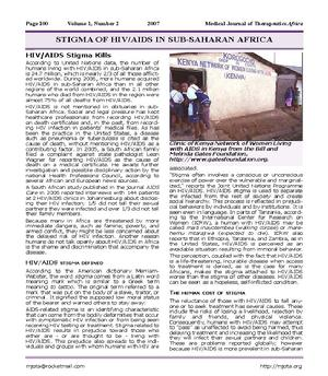 Stigma of HIV/AIDS in sub-Saharan Africa. Jennifer Withers MS. Medical Journal of Therapeutics Africa 2007,1(2):100-3.